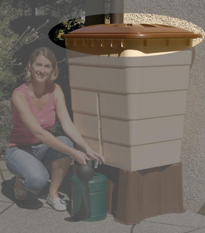 Deckel für Garantia Regentonne eckig 520 Liter Sahara braun Bild 1