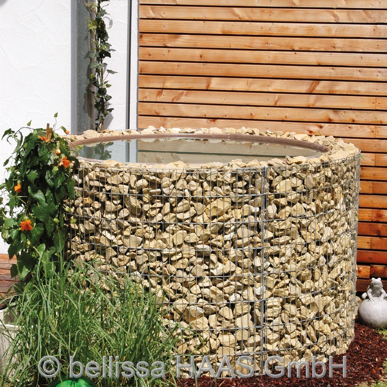 Gartenteich wasserfass steinkorb bellissa 130cm h he for Gartenteich 80 cm tief