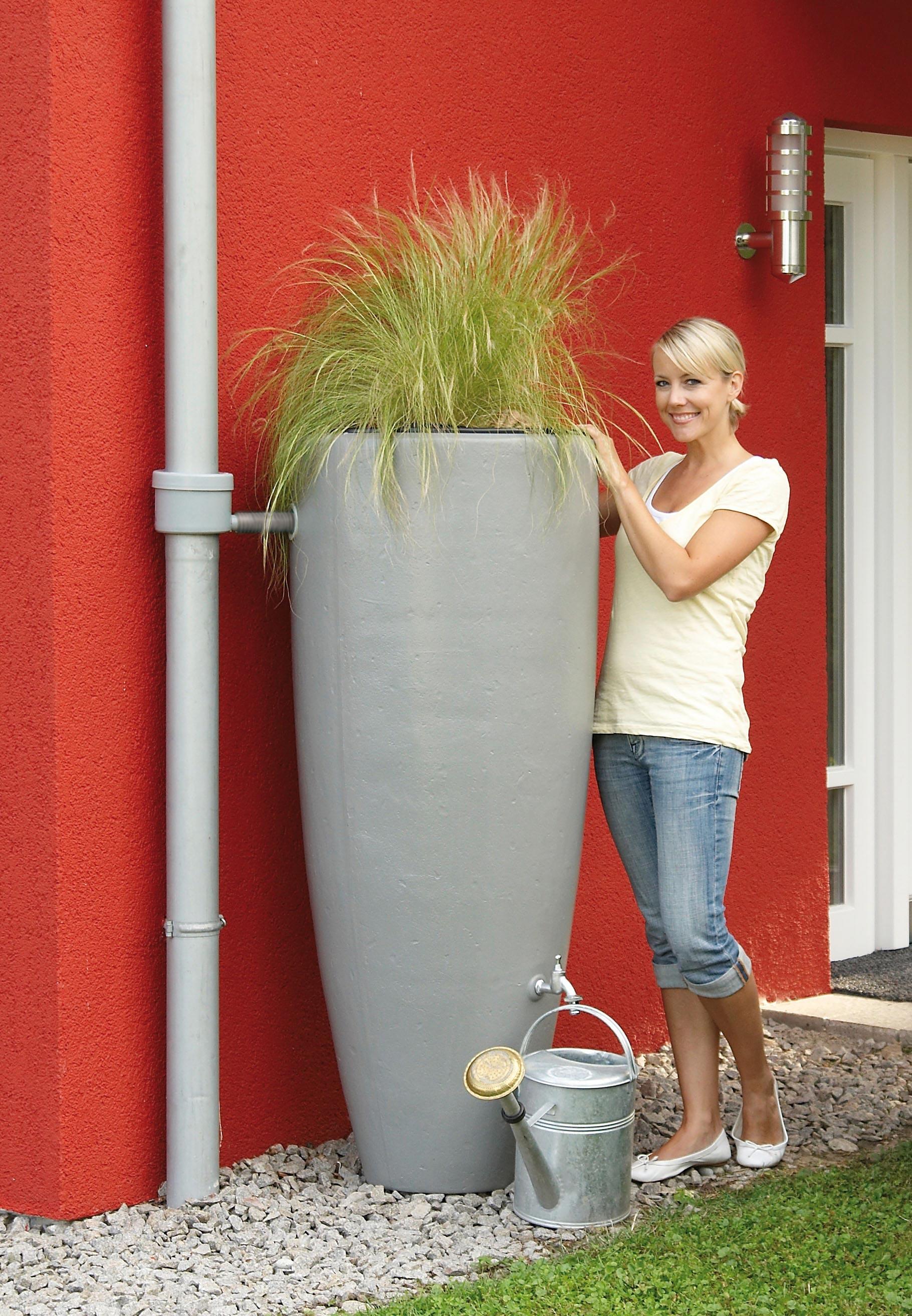 Regentonne 2in1 300 Liter mit Pflanzschale zinkgrau GRAF 326111 Bild 2