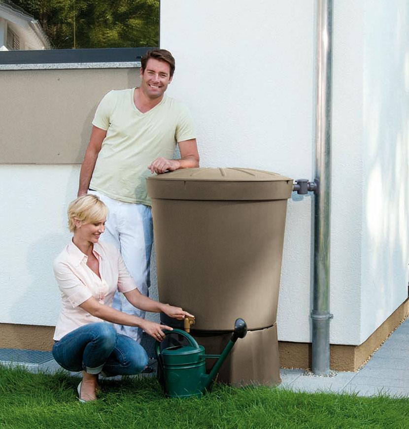 regentonne siena 300 liter rund taupe garantia bei. Black Bedroom Furniture Sets. Home Design Ideas