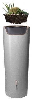Regentonne Stone 2in1 350L mit Pflanzschale silver GRAF 326140 Bild 4