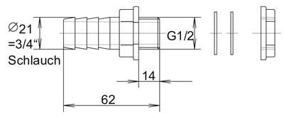 Regentonnenverbinder / Tonnenanschluss 3/4 Zoll Bild 2