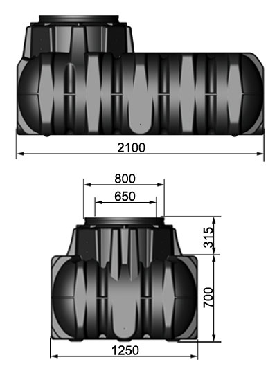 Flach- Erdtank Platin befahrbar 1.500 Liter Graf 390000 Bild 2