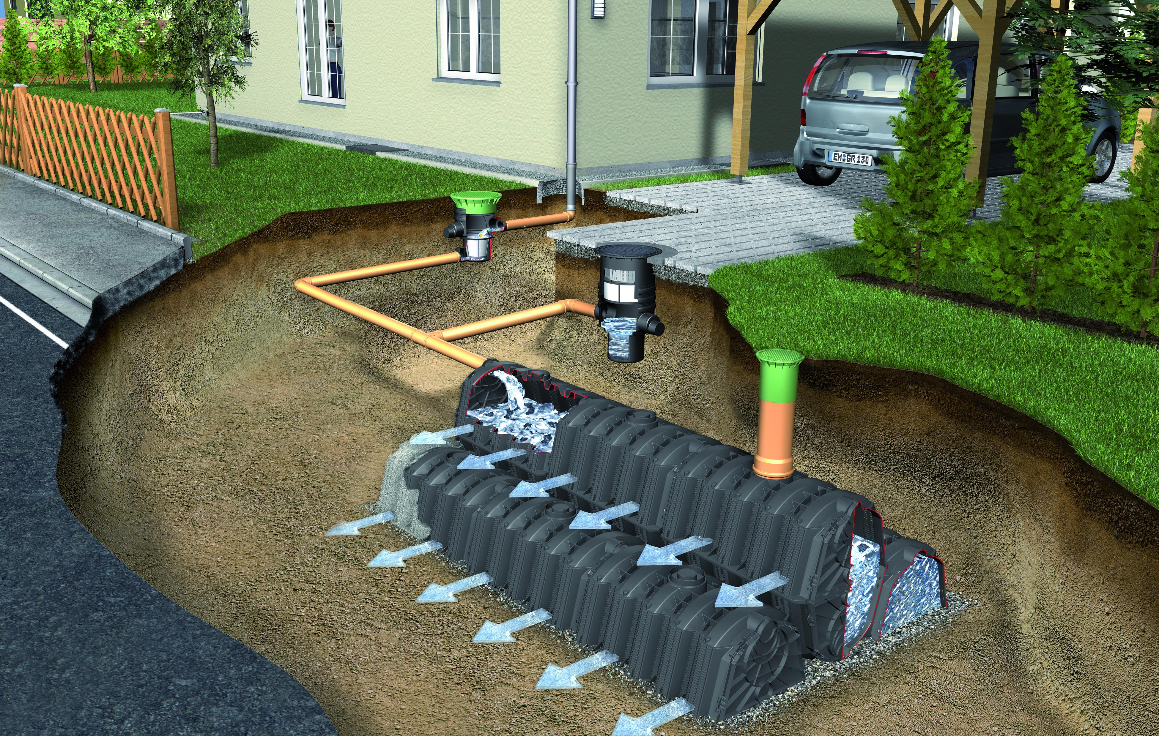 regenwasser versickerung sicker tunnel twin pkw 3600l. Black Bedroom Furniture Sets. Home Design Ideas
